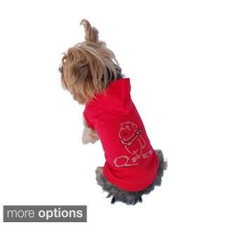 Anima Red Bling Poly-cotton Dog Hoodie Sweatshirt