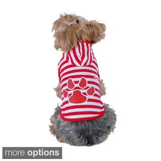 Anima Puppy Dog Pet Soft Clothes Stripe Paw Print Hoodie Apparel