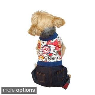 Anima Pet Puppy Dog Clothes T Shirt Apparel With Denim Jeans Pants Set