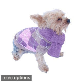 Anima Pet Dog Puppy Warm Argyle Neck Knit Sweater Coat Jumper with Removable Scarf