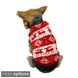 Anima Pet Puppy Dog Xmas Reindeer Snowflake Print Fleece Sweater Hoodie Winter