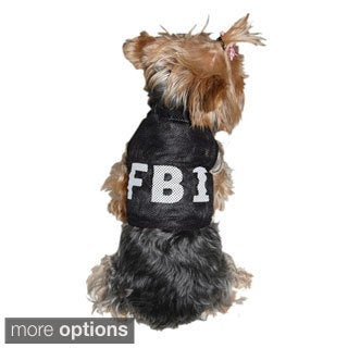 Anima Dog puppy Clothes Pet Dress T-Shirt Costume Secret Agent FBI