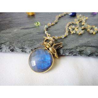 Mystic Dream Round Labradorite Hu mmingbird Charm rosary-style Pendant Necklace