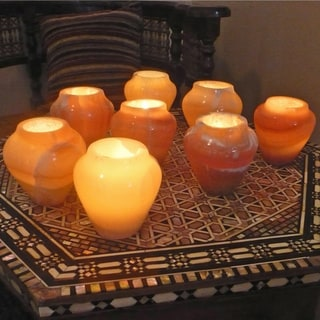 Handmade Set of 8 Amphora Alabaster Votives (Egypt)