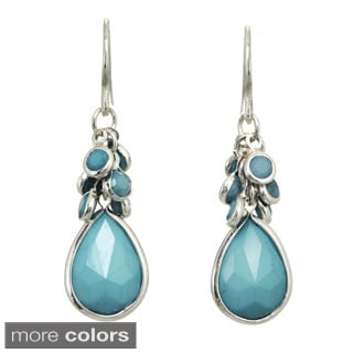 Silvertone Green, Blue or Pink Teardrop Dangle Earrings