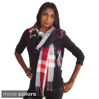 Plaid Check Print Scarf with Fringe