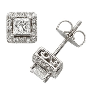 Sofia 18k White Gold 1ct TDW Princess-cut Diamond Halo Stud Earrings