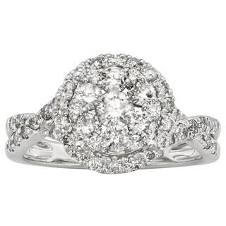 Sofia 14k White Gold 1ct TDW Round-cut IGL Certified Diamond Ring (H-I, I1-I2)