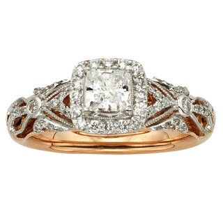 Sofia 14k Rose Gold 1ct TDW Vintage Princess Cut Diamond Ring