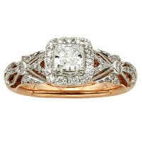 Sofia 14k Rose Gold 1ct TDW Vintage Princess Cut Diamond Ring