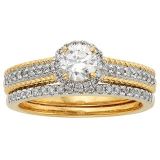 Sofia 14k Yellow Two-tone Gold 1 1/2ct TDW Certified Round Diamond Bridal Set (H-I, I1-I2)