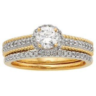 Sofia 14k Yellow Two-tone Gold 1 1/2ct TDW Certified Round Diamond Bridal Set
