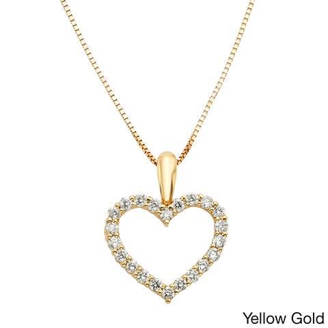 Sofia 14k Gold 1/4ct TDW IGL Certified Diamond Heart Necklace