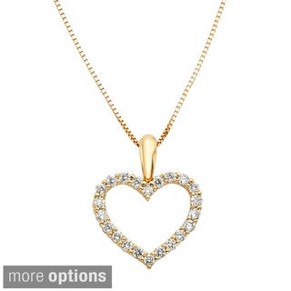 Sofia 14k Gold 1/4ct TDW IGL Certified Diamond Heart Necklace