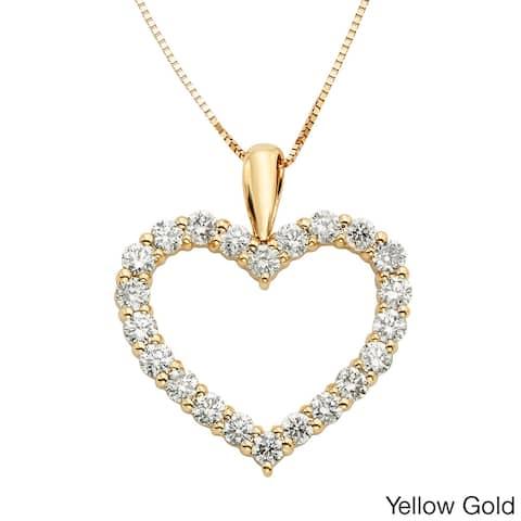 Sofia 14k Gold 1ct TDW IGL Certified Diamond Heart Pendant