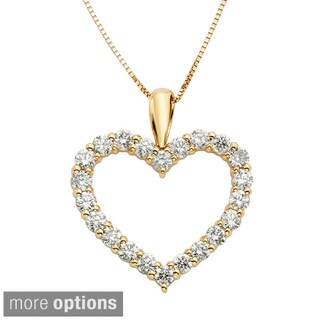 Sofia 14k Gold 1ct TDW IGL Certified Diamond Heart Pendant