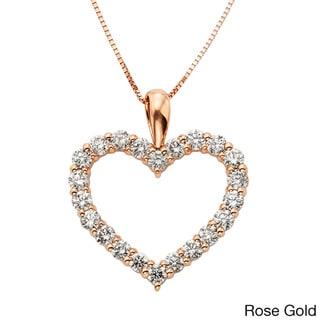 Sofia 14k Gold 1ct TDW IGL-certified Diamond Heart Pendant (H-I, I1-I2)