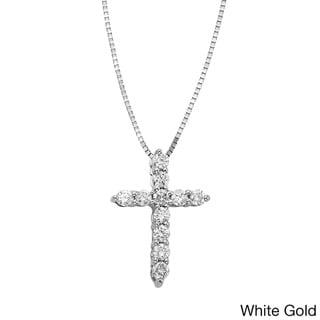 Sofia 14k Gold 1/4ct certified Diamond Cross Pendant