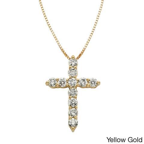 Sofia 14k Gold 1/2ct TDW IGL Certified Diamond Cross Necklace