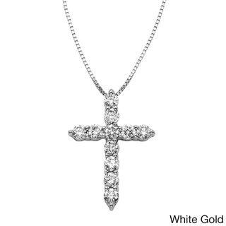 Sofia 14k Gold 1/2ct TDW certified Diamond Cross Necklace (H-I, I1-I2)