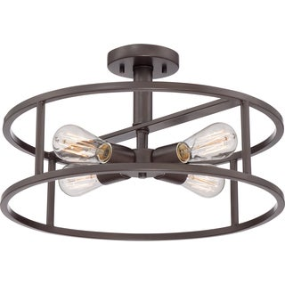New Harbor 4-light Western Bronze Extra Large Semi Flush Mount
