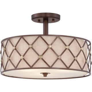Brown Lattice 3-light Copper Canyon Large Semi Flush Mount