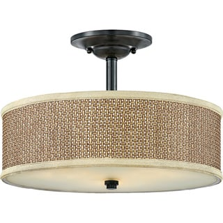 Zen 3-light Mystic Black Semi-flush Mount