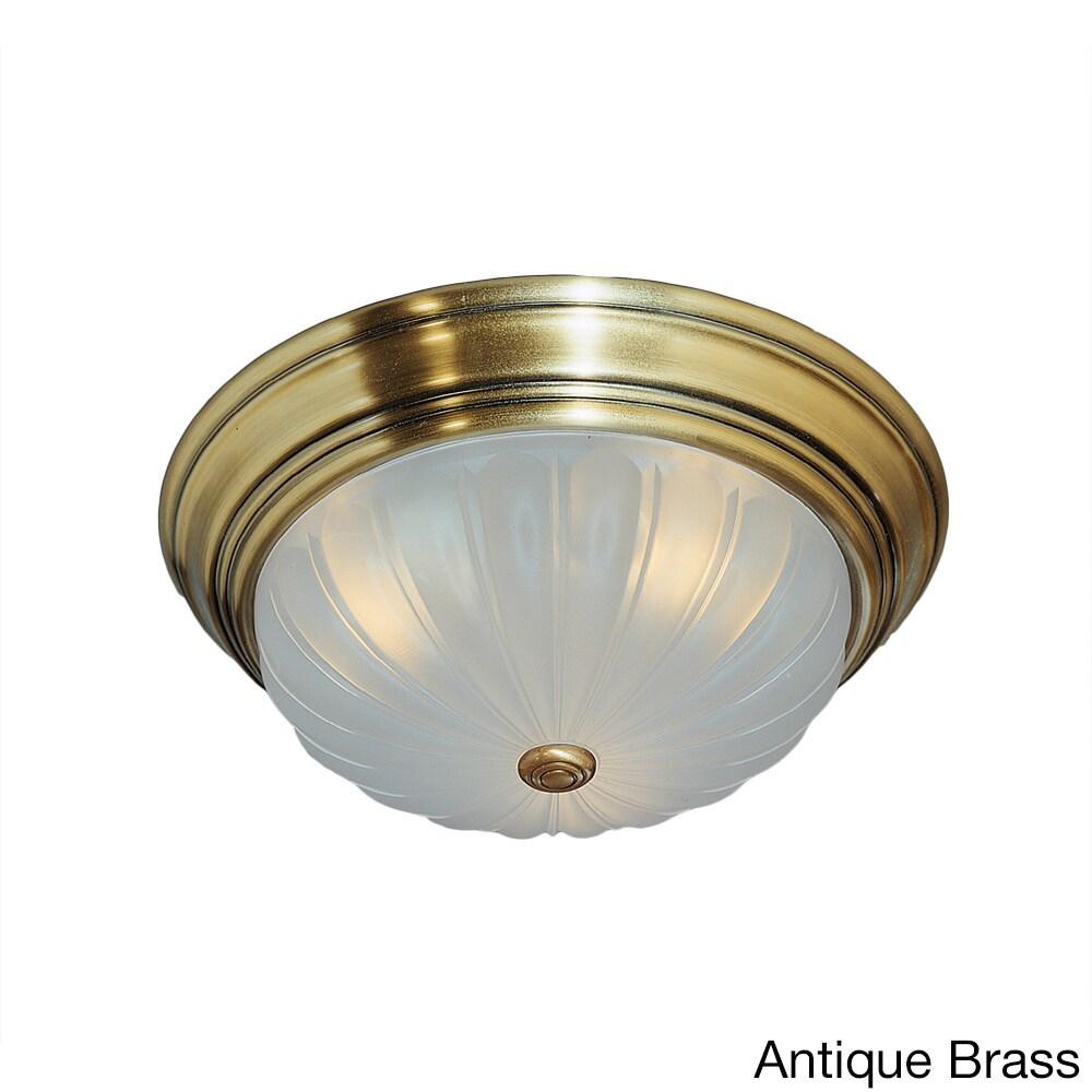 Quoizel Melon 2-light Flush Mount (Antique Brass), Brown ...