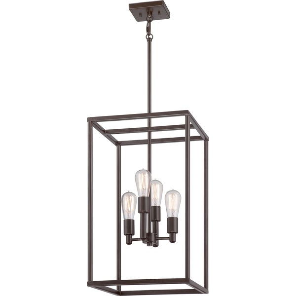 quoizel  u0026 39 new harbor u0026 39  4-light western bronze cage chandelier - free shipping today