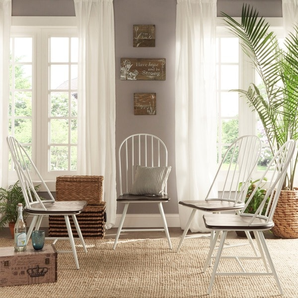 4 Dining Room Chairs For Sale: Shop Belita Two-Tone Spindle Wood Dining Chairs (Set Of 4