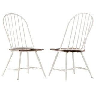 TRIBECCA HOME Belita Mid-century Two-tone Modern Spindle Wood Dining Chairs (Set of 4)