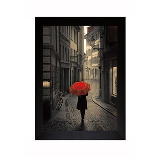 Corso 'Red Rain ' Framed Artwork - Black