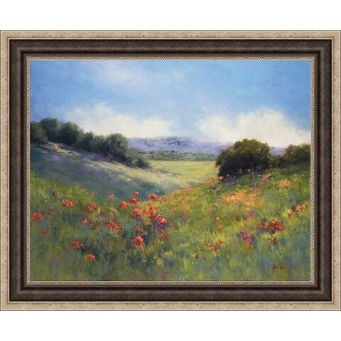 Weil 'Poppies with A View ' Framed Artwork - Green