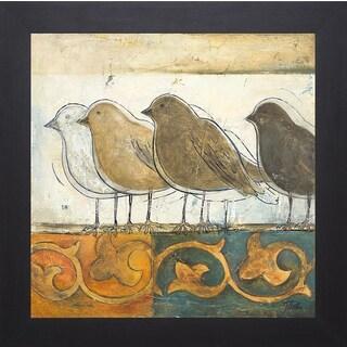 Patricia Pinto 'Birds on Damask I' Framed Artwork