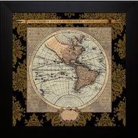 Elizabeth Medley 'Damask on Black Map II' Framed Artwork