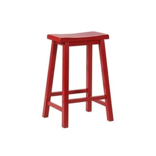 Powell Laurell Red Saddle Bar Stool