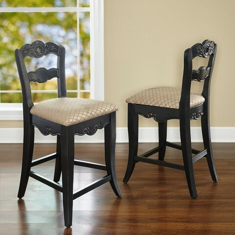 Powell Garland Antique Black over Terra Cotta Counter Stool, 24 Seat Height