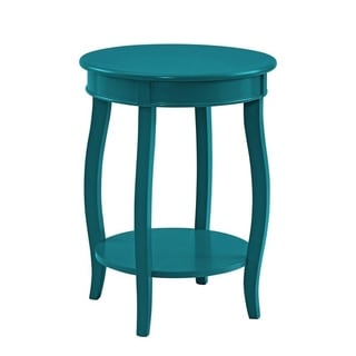 Powell Seaside Teal Round Table with Shelf