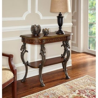 Powell Montpellier Floral Demilune Console Table