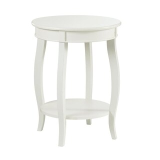 Powell Penelope White Round Table with Shelf