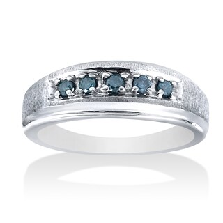 14k White Gold 1/6 ct TDW Blue Diamond Men's Wedding Band (More options available)