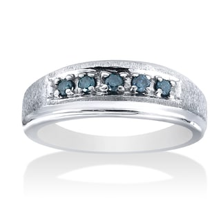 14k White Gold 1/6 ct TDW Blue Diamond Men's Wedding Band (I-J, I2-I3)