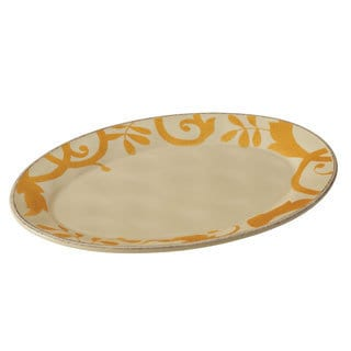 Rachael Ray Dinnerware Gold Scroll 12-1/2-Inch Round Platter