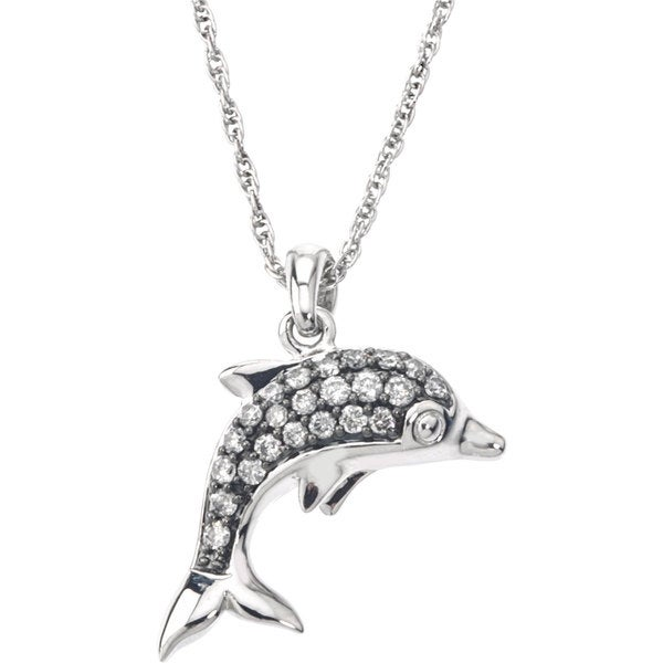 SilverMist Sterling Silver 1/3ct TDW Grey and White Diamond Dolphin Necklace By Ever One