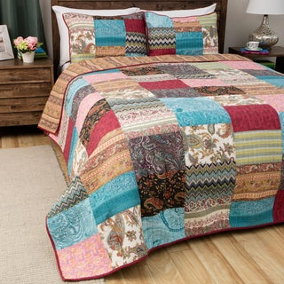 Greenland Home Fashions New Bohemian Cotton Patchwork Quilt Set