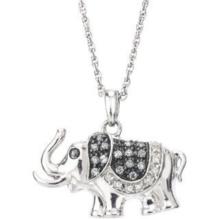 SilverMist Sterling Silver 1/4ct TDW Grey and White Diamond Elephant Necklace By Ever One (H-I, I2-I3)