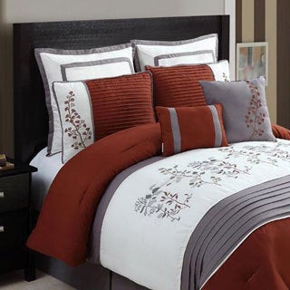 Shop Vcny Alexandra Rust Grey Floral 8 Piece Comforter