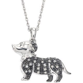 SilverMist Stainless Steel 1/4ct TDW Grey and White Diamond Dog Necklace By Ever One