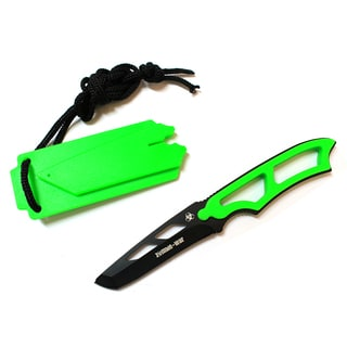 Defender Zombie War Green Skinner 6.5-inch Knife with Sheath and Whistle