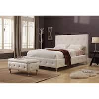 Faux Leather White Upholstered Bed